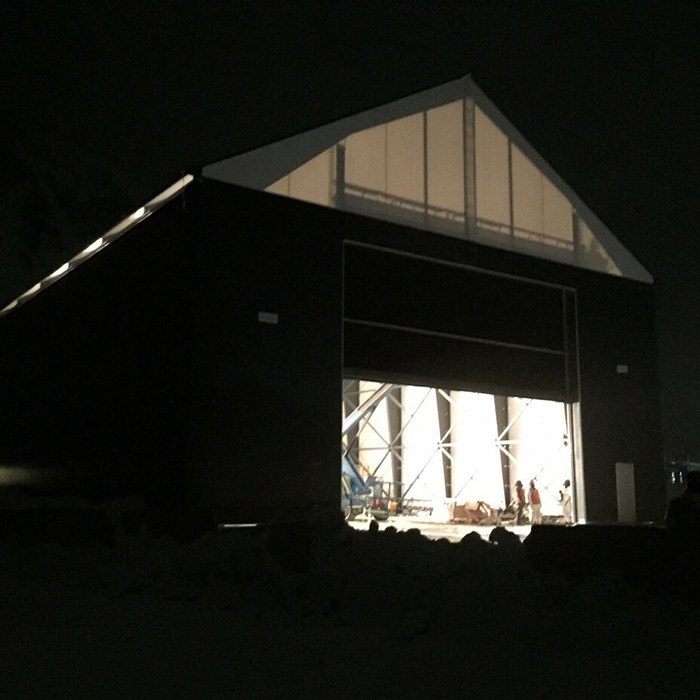 fabric structure exterior lights
