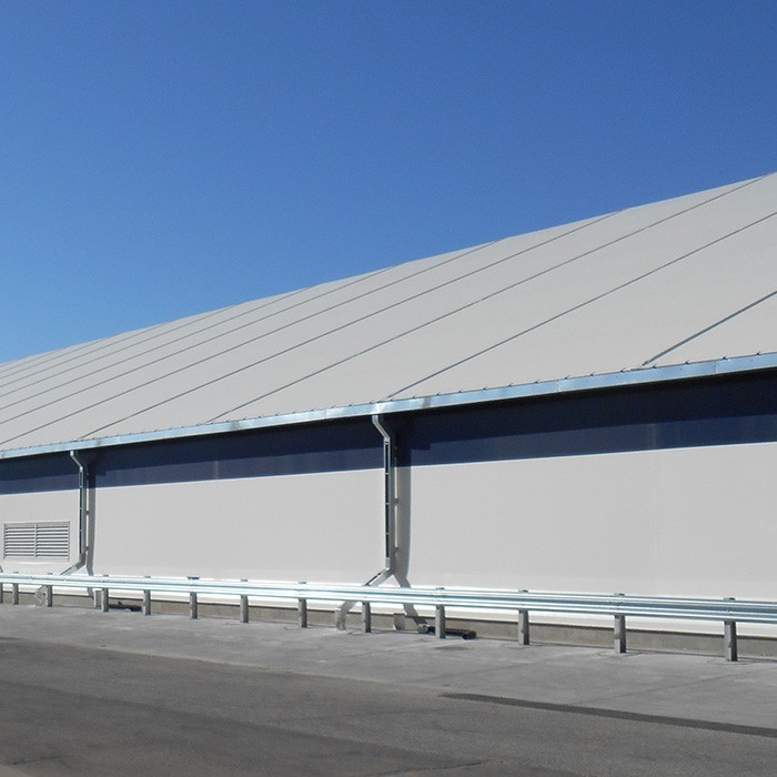 fabric structure eaves water management gutter downspout