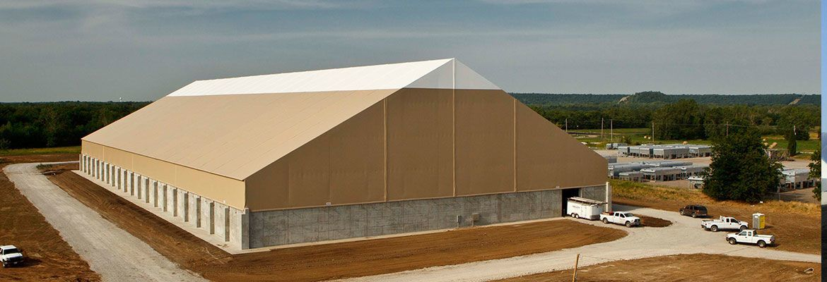 fabric structure exterior concrete retaining wall