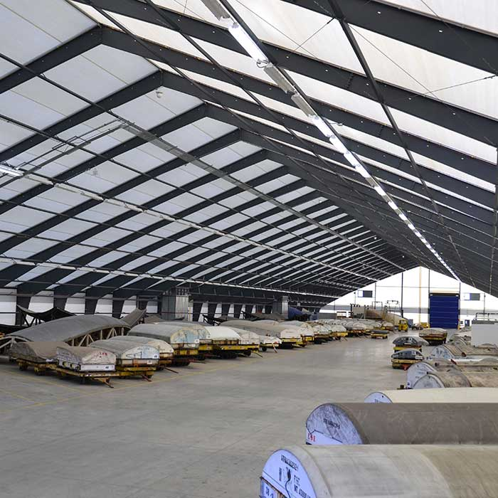 rigid steel frames fabric structure