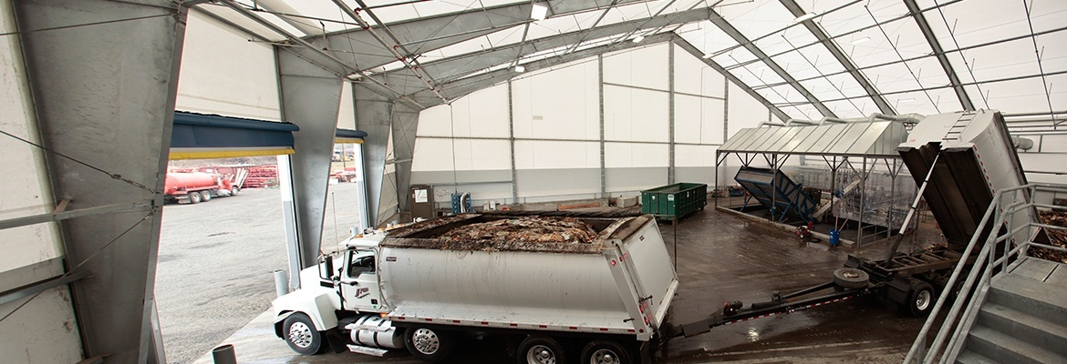 waste management MSW fabric structure tipping truck