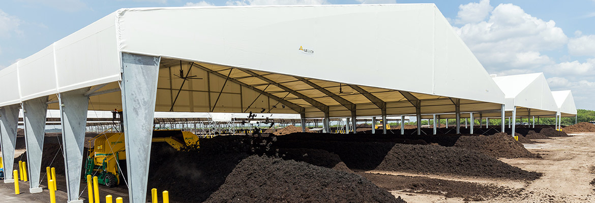 PVC fabric structure compost windrows